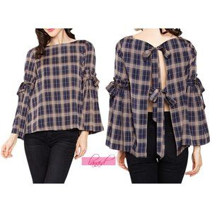 NEW Sugarlips Frankie Plaid Top Open Back Backless